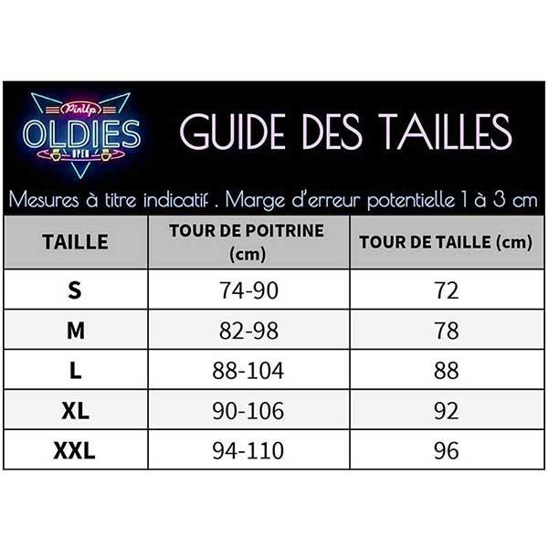 Chemise à Carreaux Pin Up Guide des Tailles
