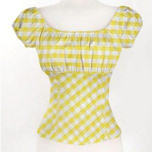 Chemise à carreaux pin up jaune