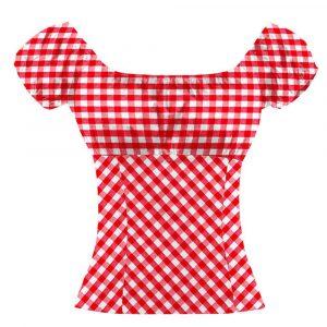 Chemise à carreaux pin up rouge