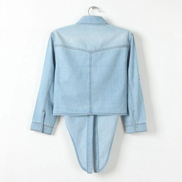 Chemise jean vintage femme bleu clair dos