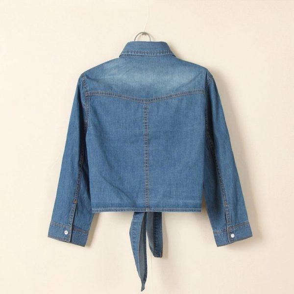 Chemise jean vintage femme bleu foncé dos