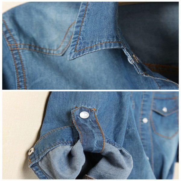 Chemise jean vintage femme col manches