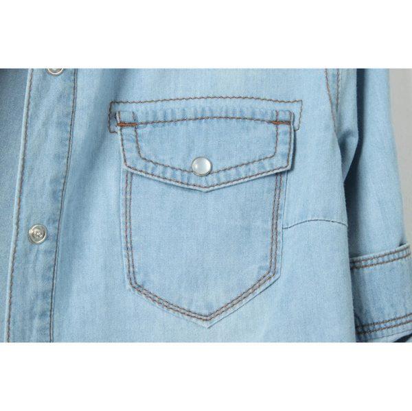 Chemise jean vintage femme poche
