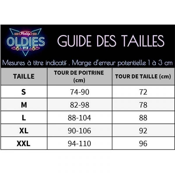 Chemisier retro pin up guide des tailles