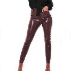 Pantalon Simili Cuir Rouge Femme