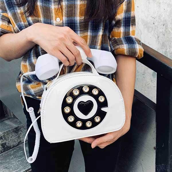 Sac à Main en Forme de Téléphone Blanc Porté